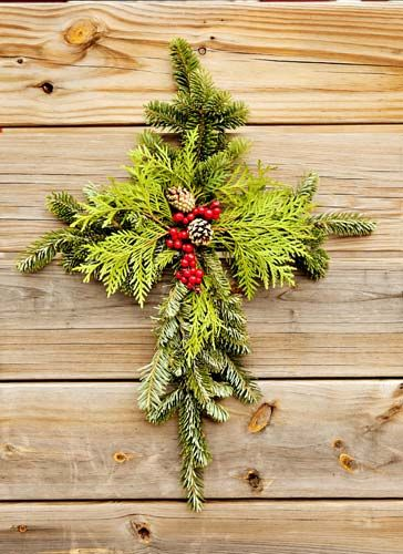 Very pretty and meaningful cross wreath decoration