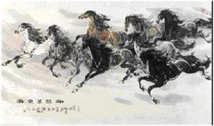 Good luck, Symbols and Feng shui on Pinterest 7 White Horses Running Painting