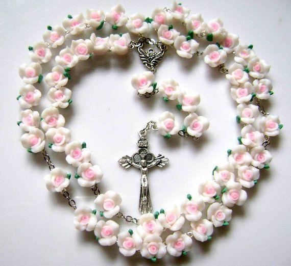 collar de Rosario hecho a mano católica cerami por elegantmedical