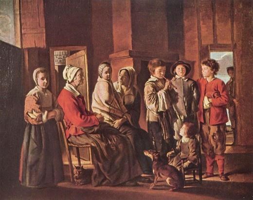 """루이 르 냉, """"할머니 집 방문"""", 1640, 캔버스에 유채, 에르미타주 미술관."""