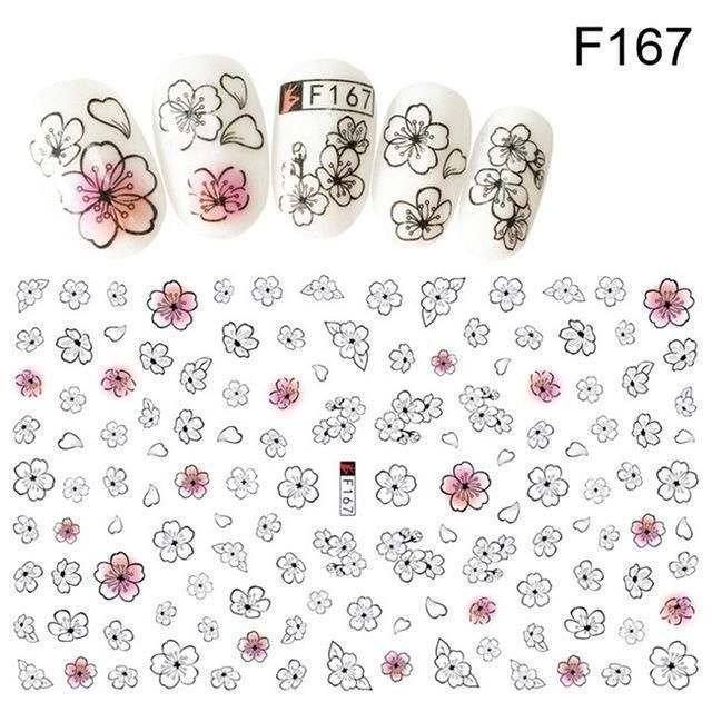 Flower Series Nail Water Decal Stickers Sakura Daisy Lavender Floral Pattern Tra…