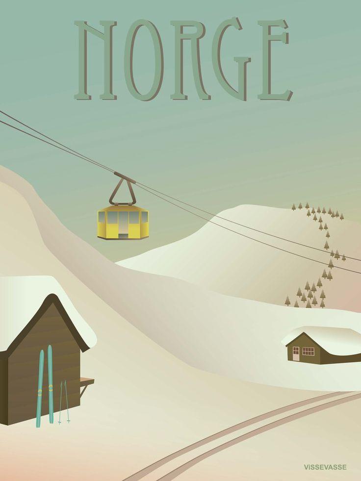 Norge plakat med sne vissevasse