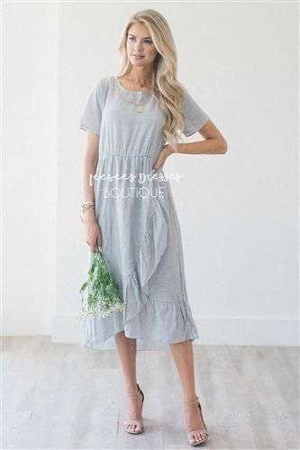 This new cute midi dress features heather gray and ivory thin stripes 7500f59c3