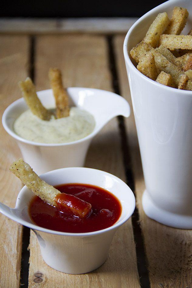 Polenta fritta con letchup home made e maionese aromatizzata