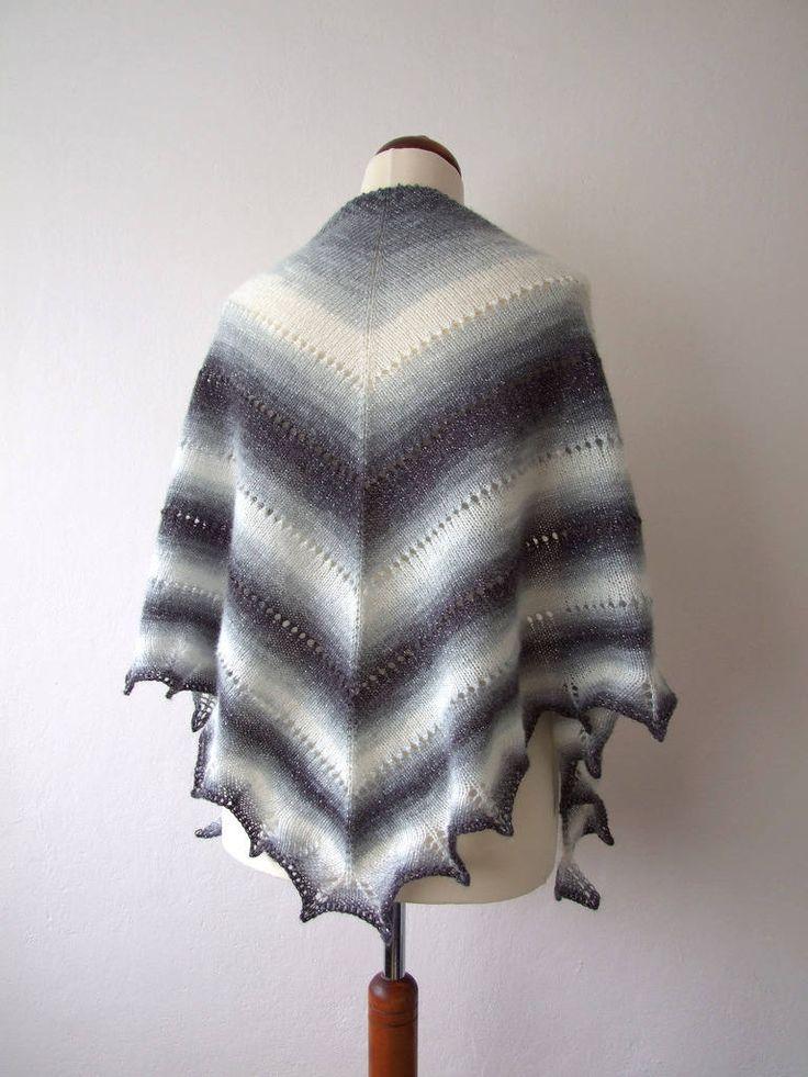 Classic: shimmering black white grey shawl http://etsy.me/2FtT2B4 #accessories #shawl #shimmer #glam #handknitscarf #handknitshawl #triangleshawl #elegance #etsy