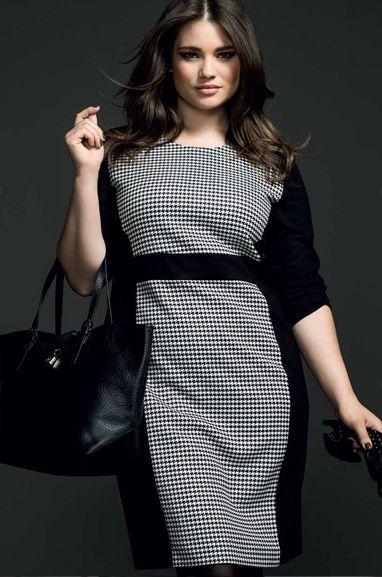 Couchel - Moda - El Corte Inglés Curvy model Tara Lynn #plus size #houndstooth #black