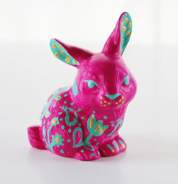 Easter Bunny Figurine Ceramic Hand Painted In Magenta Mint And Gold Decorative Rabbit Rabbit Home Decor Easter Gift