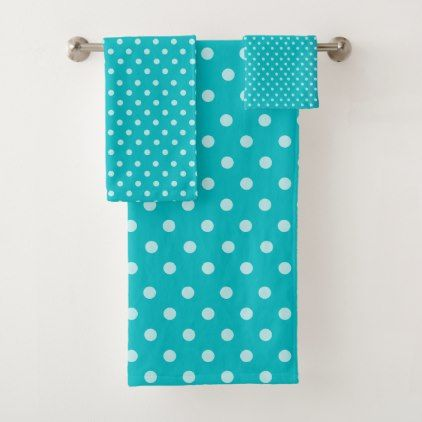 Turquoise Polka Dots Pattern Bath Towel Set - pattern sample design template diy cyo customize