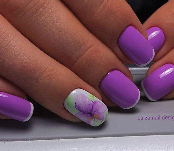 Fashion liliac nails, flower nail art, Lilac nails, May nails, Pale lilac french nails, Pale lilac shellac, Paleliliac nails, Short nails with a pictur