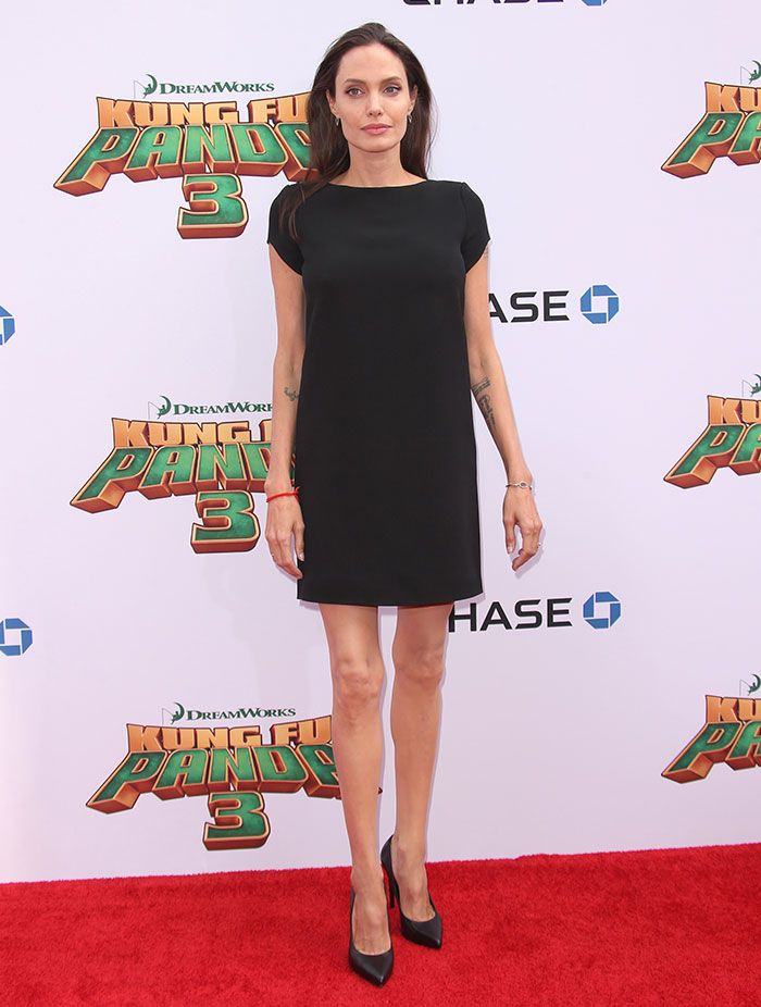"""Angelina Jolie in Saint Laurent LBD at the premiere of """"Kung Fu Panda 3"""" in Los Angeles on January 16, 2016"""