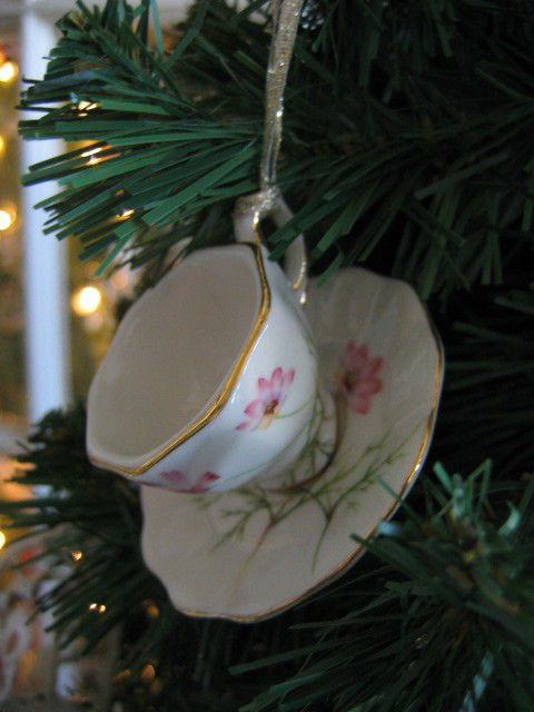 China Pink Wildflower Teacup Saucer Ornament, New # ...