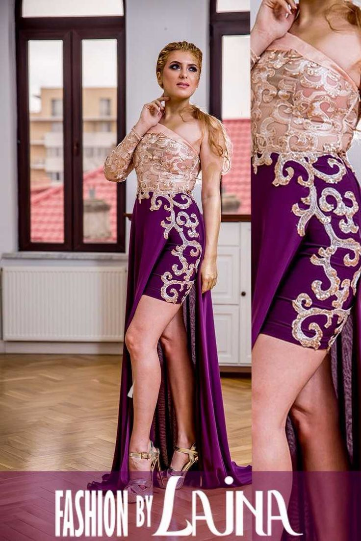 Golden lace, overlays of purple veils and purple satin and gold organza define Alima dress. ✓ Fabric: Satin - Lace - Organza ✓ Color: Purple - Gold