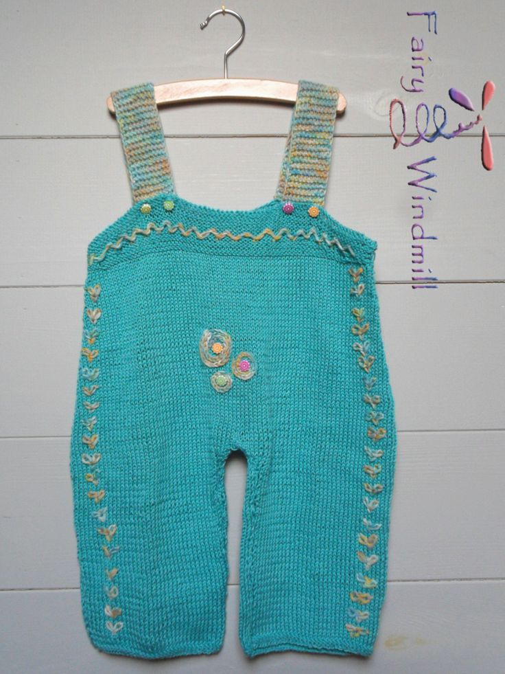 A colourful knitted salopette is soft and comfortable for your child, made of mercerized cotton. it's knitted of 100% cotton yarn/  size 98-103 cm (2,5-3 y.o.)/  hand wash 40% /  warm iron /  do not bleach/  do not tumble dry /  wash and iron inside out /  wash with similar colours/ dry flat/ made with care of talented hands;-)