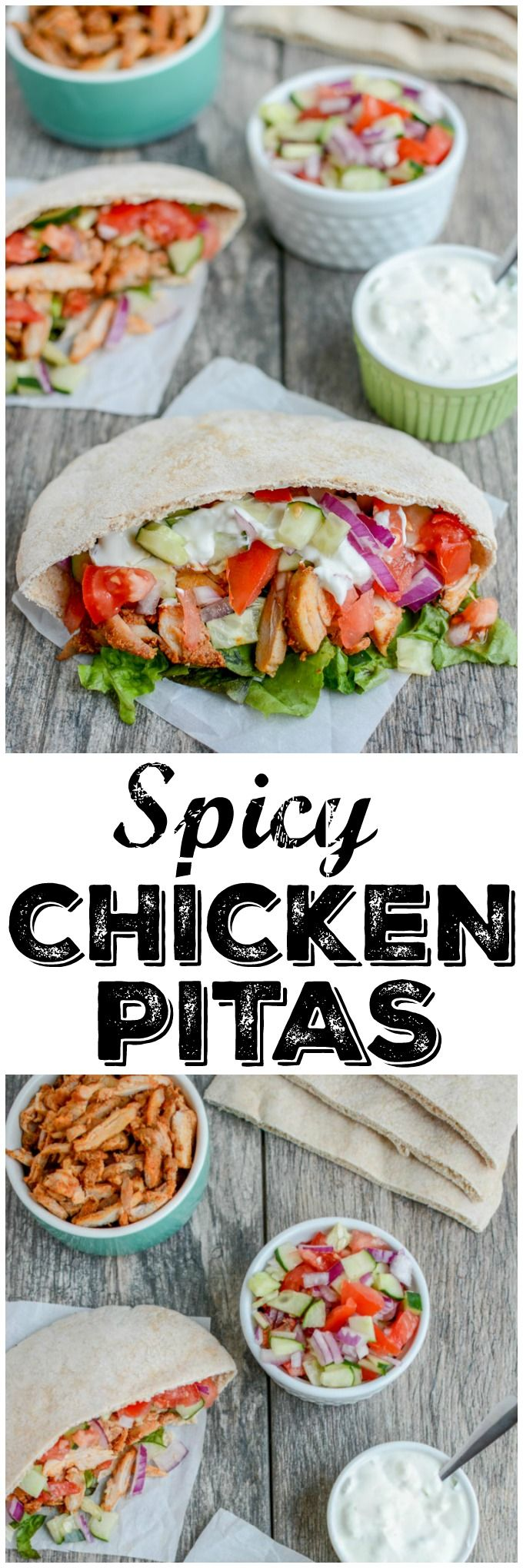 These Spicy Chicken Pitas are made with boneless, skinless chicken thighs and you can prep all the components ahead of time and assemble them quickly for a healthy lunch or dinner.