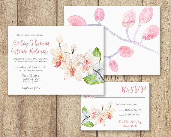 Orchid Wedding Invitation Set Pink and White by MLBandCo on Etsy