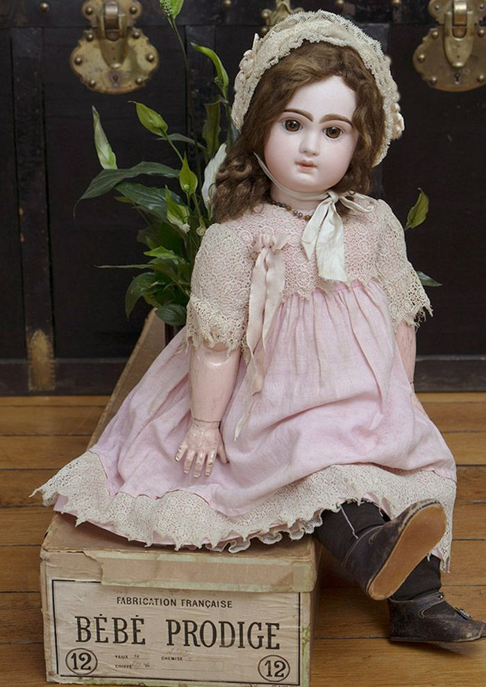 """27"""" (69 cm) Antique French All Original Brown-Eyed Bebe by Emile Jumeau Prodige in factory box, size 12 Antique dolls at Respectfulbear.com"""