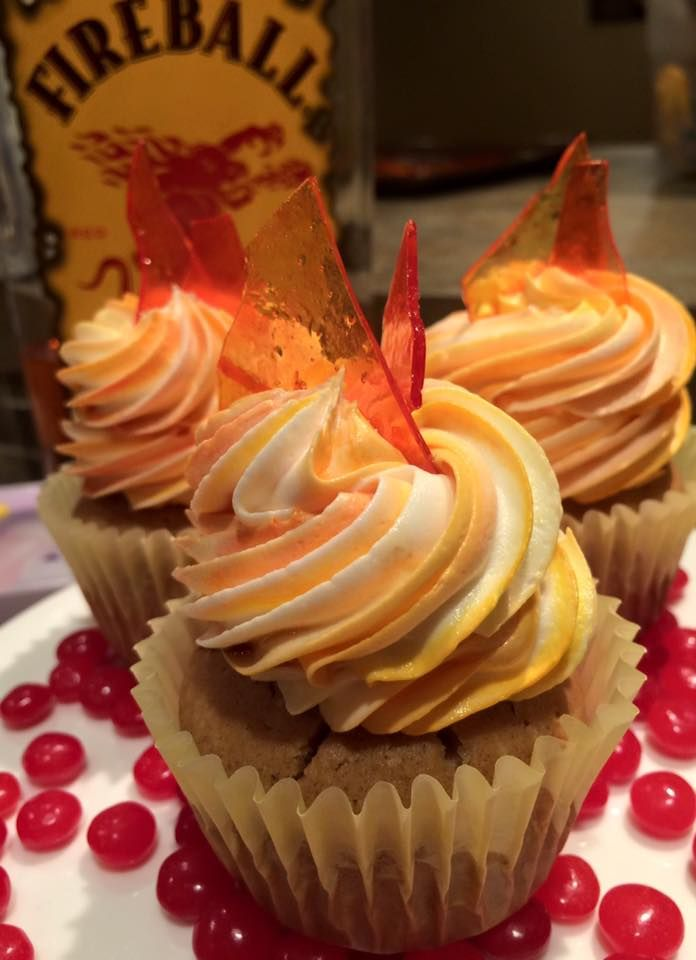 Fireball Cupcakes - Spice cake spiked with Fireball Cinnamon Whiskey, finished with Fireball buttercream and candy flames.