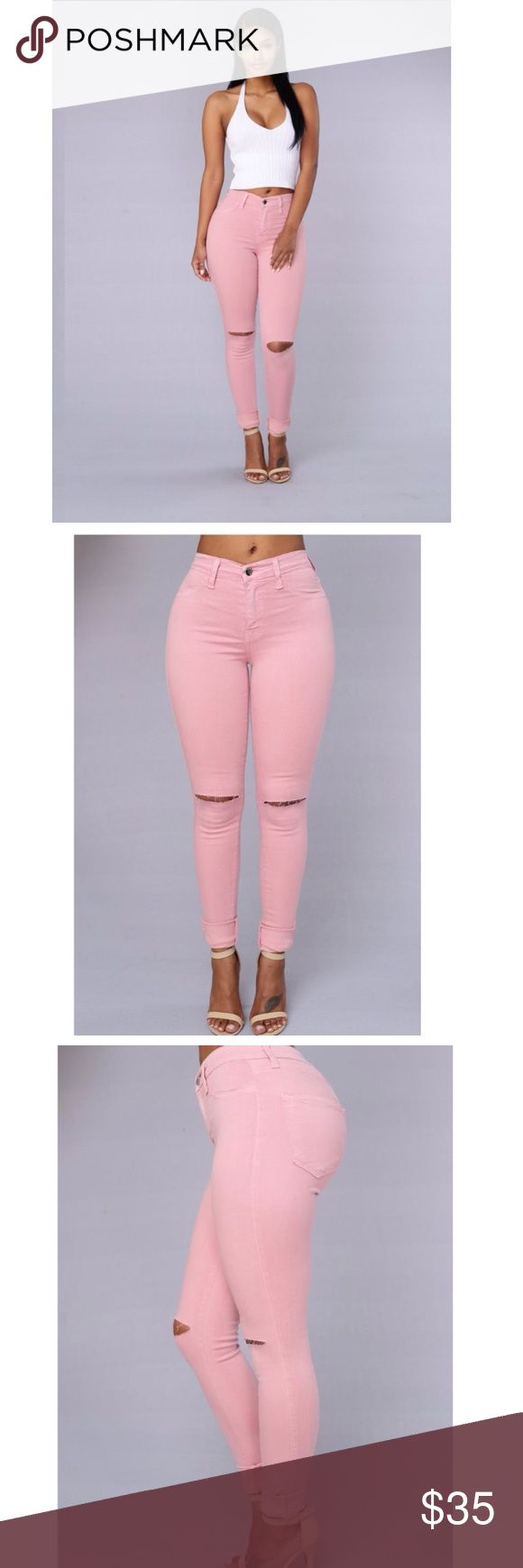 Stretch jean 🔴SOLD🔴 Stretch jeans in rose pink  💗💗High waisted with slit in the knee brand new ordered online too small Jeans Skinny
