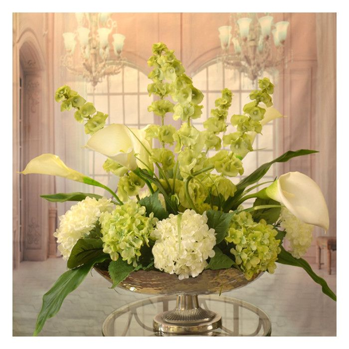 You'll love the Calla Lilly and Bells of Ireland Silk Floral Centerpiece in Bowl at Wayfair - Great Deals on all Décor  products with Free Shipping on most stuff, even the big stuff.