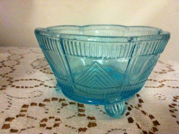 blue pressed glass vintage dish