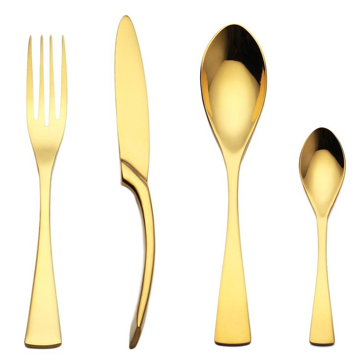 Gold 4 PCS/Set Stainless Steel Cutlery Set Dinnerware Gift Mirror Polishing Silverware Set Dinner Scoop Knife and Fork Sets  #Kitchenutensils #GBBO #Kitchengadgets #Kitchen