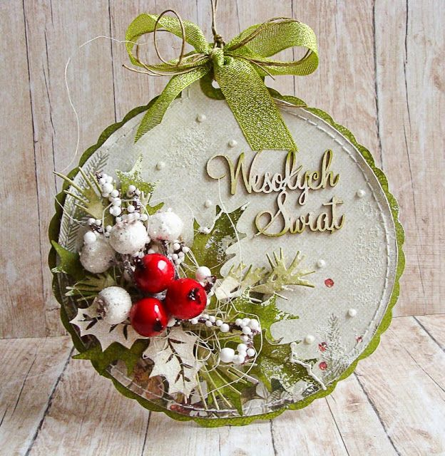 handmade Christmas card/ornament ... shabby chic ... artificial berries ... multi-media ... delightful snow dusted look ...