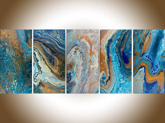 Turquoise gold painting Acrylic pour Fluid art set of 2 painting original art canvas art fluid acrylic UnderWater World III by qiqigallery