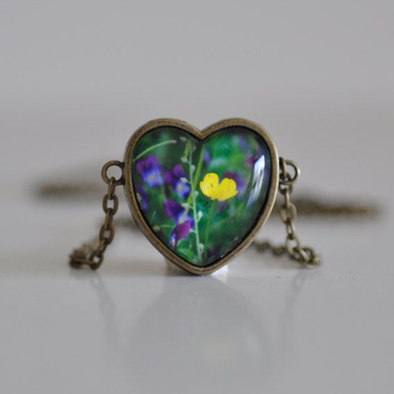 Heart Wild Buttercup Flower Necklace by WildSparrowDesign on Etsy