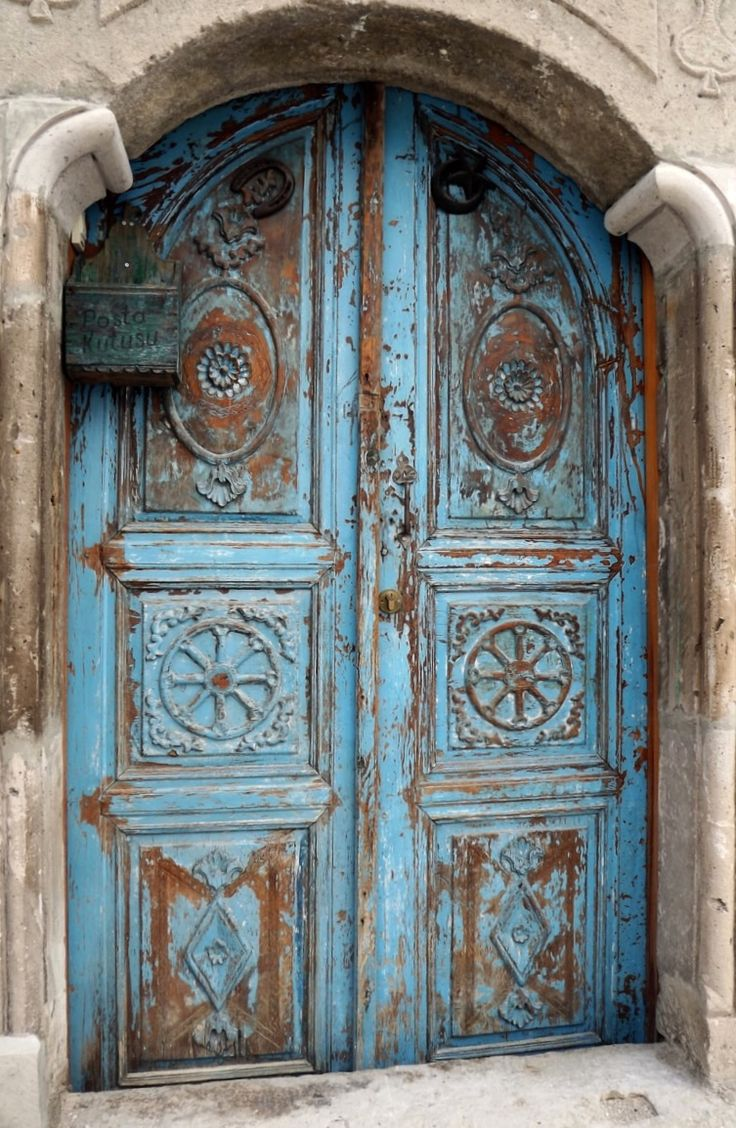 Beautiful blue weathered door in Cappadocia, Turkey.