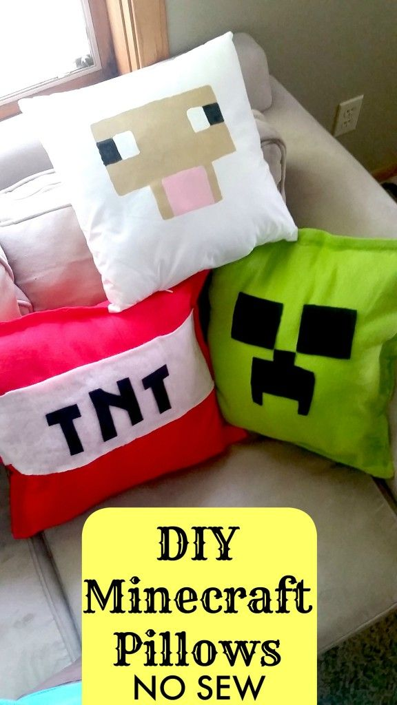 DIY Minecraft Pillows NO SEW Tutorial - Sheep, Creeper, and TNT Bomb - SO easy and she shows 2 different ways to make them! My kids will love this as a holiday gift for their bedroom!
