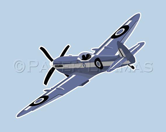 Baby boy nursery airplane art   Spitfire  custom by PaperLlamas, $15.00