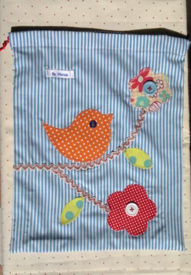 bolsa de merienda patchwork  tejidos,ric-rac  botones,cordón patchwork