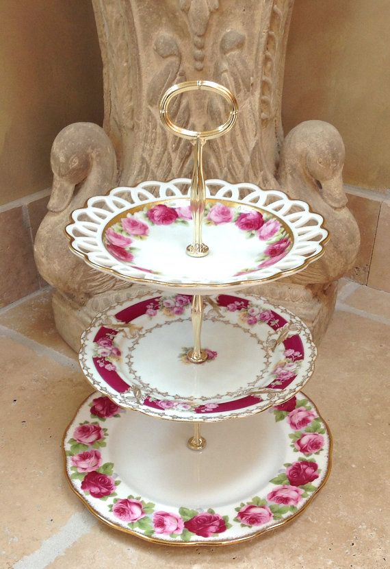 3 Tier Cake Stand Vintage China Roses for by HelensRoyalTeaHouse $120.00 & 41 best vintage plates images on Pinterest | Dishes Vintage dishes ...