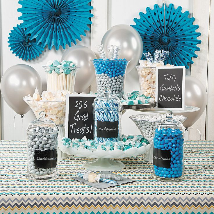 blue white graduation candy buffet idea show some school spirit with this sweet way