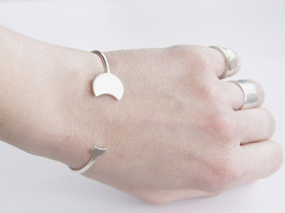 Thin Sterling Silver Solar Eclipse Phase Open Bangle by tothemetal