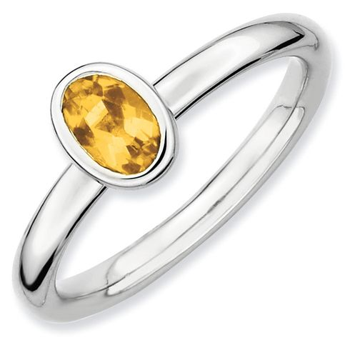 Sterling Silver Stackable Expressions Oval 2/5 ct Citrine Ring for $34.97