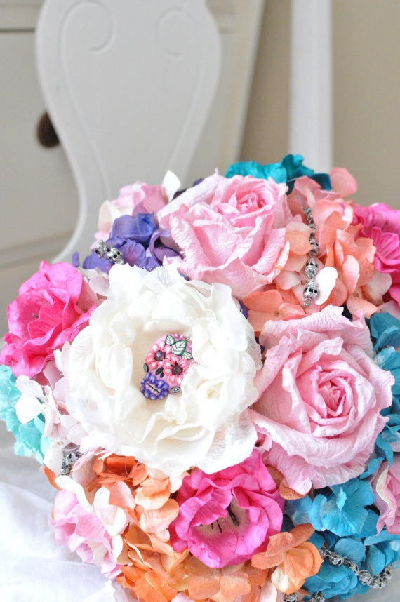 Cinco De Mayo wedding bouquet READY TO SHIP pink, purple, aqua orange and cream and hand made Sugar skull. $250.00, via Etsy.
