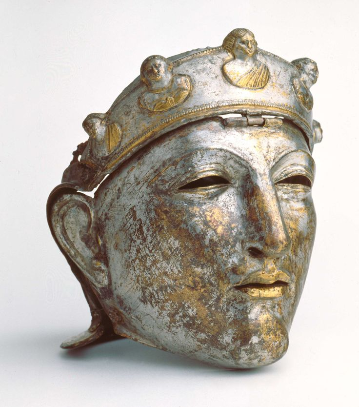 Roman Parade Helmet Mask  This gilded mask, once part of a helmet, was dredged from the Waal River at Nijmegen, Netherlands in 1915. It dates to the second half of the first century AD.