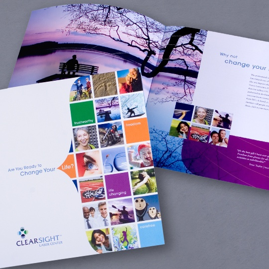 Fun imagery for laser eye center marketing brochure and brand graphics by Monica Moon. #MonicaMoon, #graphicdesign, #brochure