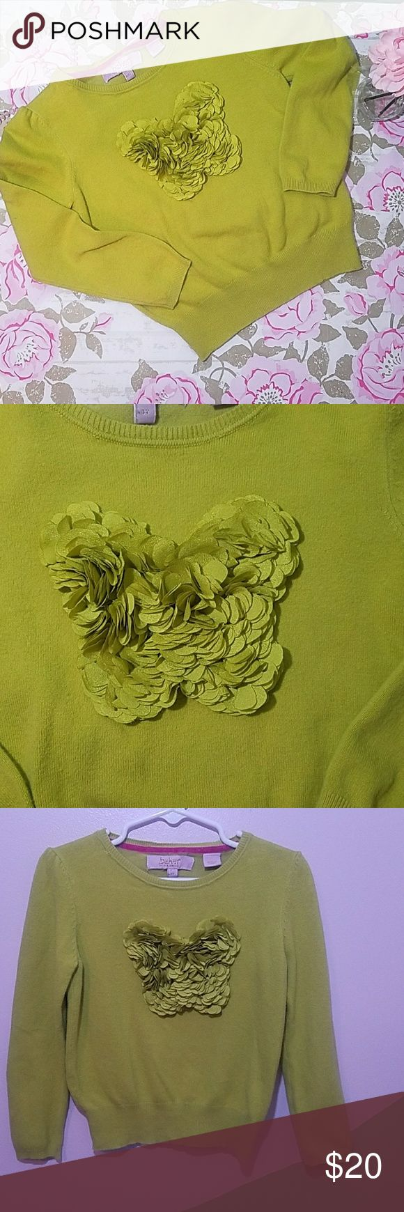 💜Ted Baker Sweater💜 Beautiful Green sweater with beautiful layered butterfly in front Excellent condition  Baker by Designer Ted Baker 3T Baker by Ted Baker Shirts & Tops