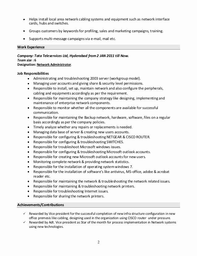 Network Administrator Resume Example Fresh Resume Windows System Administrator Specialist S Opinion Simple Resume Sample Resume Examples Sample Resume