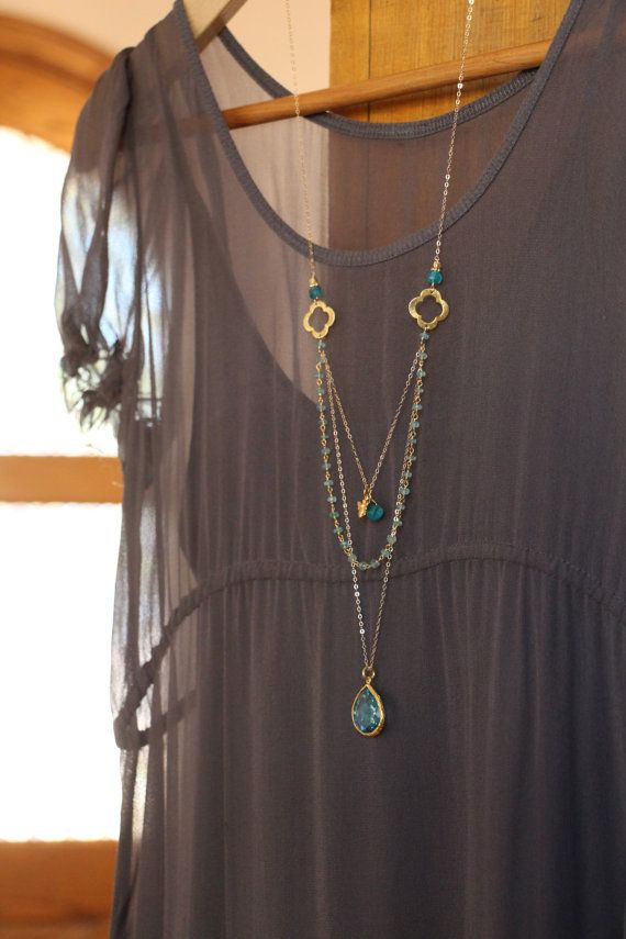 Long Multi Layer Necklace Wire Wrapped by HappyGoLuckyJewels