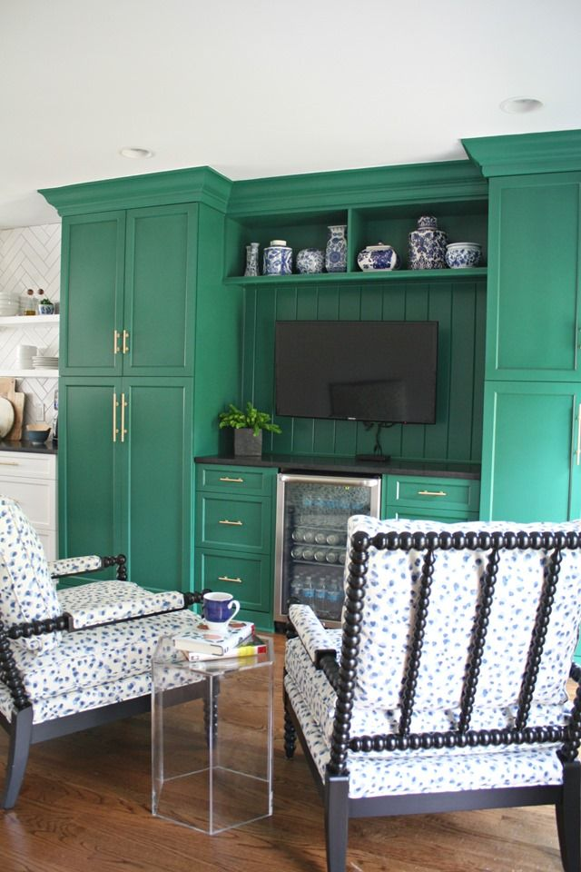 Our (Green) Kitchen Keeping Room, Emerald Cabinets, Blue and White Spool Chairs
