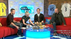 Style- Light Hearted, Funny, Relaxed  Characters- Max Rushden and Helen Chamberlain are the two hosts, Crew Members at Soccer AM also have their own funny segments. There are also celebrity guests on the show along with current professional footballers.     Story: Soccer Am is a Football talk show which talks about the more humerous side of football and also talk to celebs/footballers about their careers along with games and challenges for them to do.  Tone: Relaxed and chilled environment.