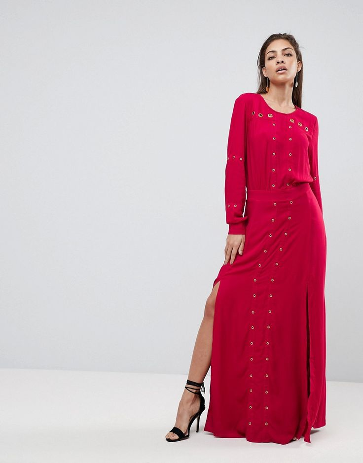 FINDERS KEEPERS MADDOX SLIT MAXI DRESS - RED. #finderskeepers #cloth #