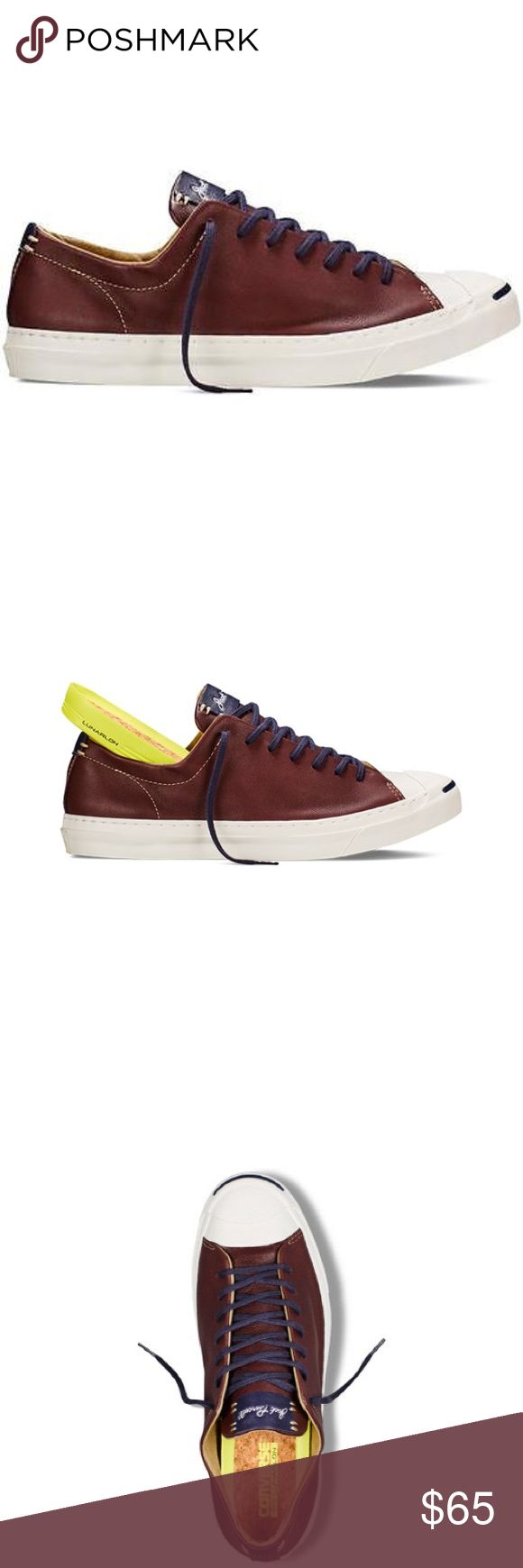 Converse leather jack Purcell brown OX shoes women Converse has reissued the iconic Jack Purcell sneaker giving it a greater premium feel. The updates include a streamlined toe-cap, two piece molded foxing, a wider heel stay and a winged tongue. Premium materials feature throughout, with the use of cotton laces however, it's the foot-bed that brings the magic Lunarlon technology borrowed from Nike gives this style unparalleled comfort. Converse Shoes Sneakers