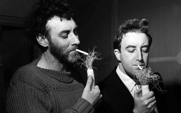 """Spike Milligan in the days of The Goons (late 1950's), with Peter Sellers (right). """"Chopsticks are one of the reasons the Chinese never invented custard"""""""
