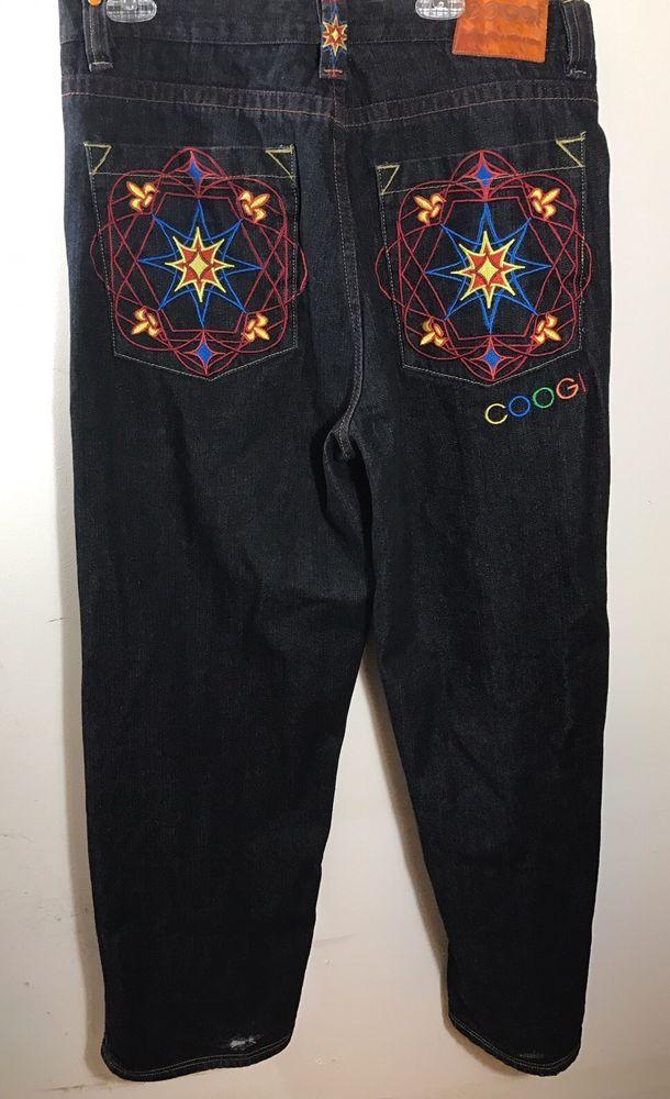 Mens Coogi Dark Denim Jeans 38 x 34 Tribal Mandala Pants Big Loose Baggy Fit #COOGI #BaggyLoose