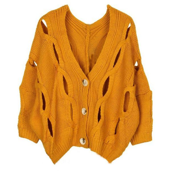 Yellow Batwing Long Sleeve Hollow Cardigan Sweater ($38) ❤ liked on Polyvore featuring tops, cardigans, outerwear, yellow, batwing cardigan, orange top, yellow cardigan, long sleeve v neck top and long sleeve cardigan