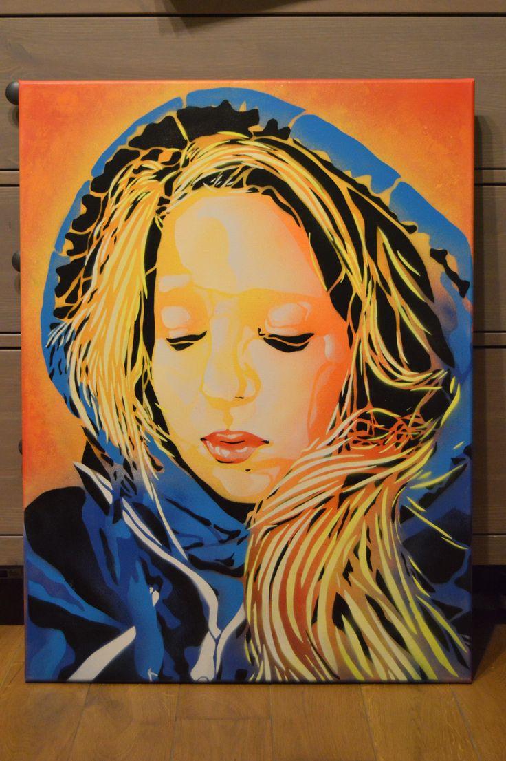 hooded girl No.2 │ acrylic spray paint www.facebook.com/oksprayart